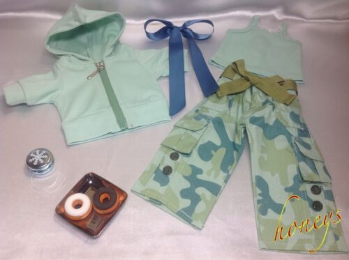 3 PC CAMOUFLAGE PANT OUTFIT~Made For American Girl Dolls~Ribbon~Toy~/& Snacks~New