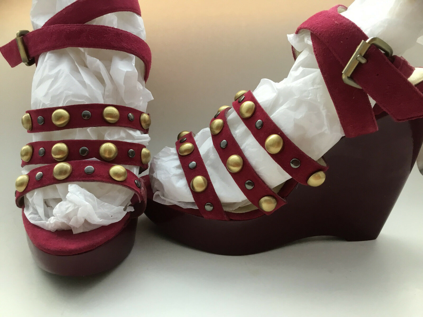 Pelle Moda Size 6.5WW Bordo Wedge Platform Sandals New Womens shoes