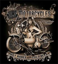 OLD MOTORCYCLES HOT BABES COLD BEER BLACK TEE SHIRT SIZE XL adult T307 biker