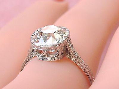 ANTIQUE ART DECO 2.65ct OLD MINE DIAMOND SOLITAIRE PLATINUM ENGAGEMENT RING 1930