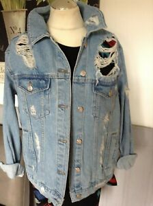 TOPSHOP-DENIM-JACKET-OVERSIZED-ULTRA-DISTRESSED-UK-10-FESTIVAL