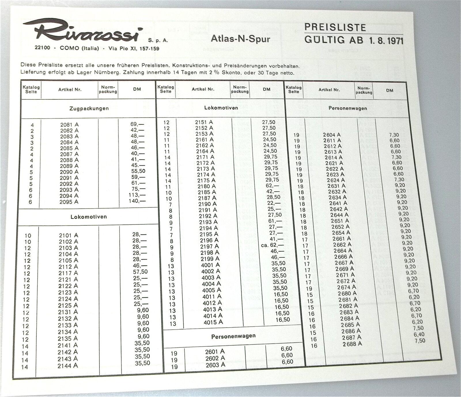 Rivarossi Atlas N Gauge Price List 1971 Å