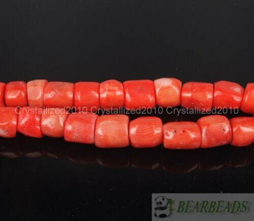 "13 mm Tubo espaciador granos flojos 16/"" Coral Naranja Natural Gemstone Grueso 12 Mm"