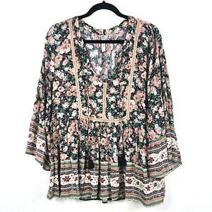 American-Rag-Size-Large-Floral-3-4-Kimono-Sleeve-Split-Neck-Boho-Peasant-Blouse