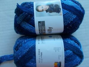 Schachenmayr-SMC-Frilly-ruffle-mesh-scarf-yarn-Berry-Mix-lot-of-2-30-yds-ea