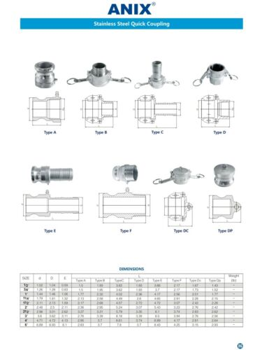 """3//4/"""" inch Cam Lock Fitting Type C Female Coupler x Hose Barb Stainless Steel"""