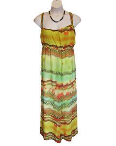 Lane-Bryant-Chiffon-Maxi-Dress-Plus-Size-26W-28W-3X-Multi-Lined-Strappy-Long