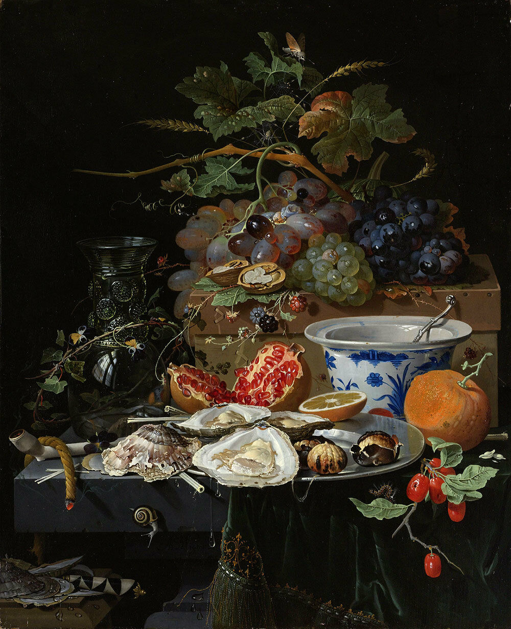 Abraham Mignon    Still Life with Fruit, Oysters  (c.1660 1679) — Fine Art Print