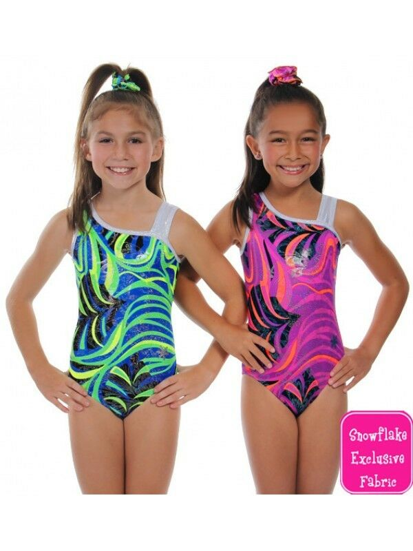 New Gymnastic Snowflake Mardi Gras Green Leotard Age 11-13 (32 )