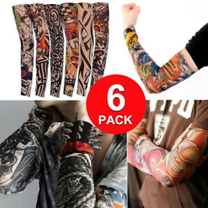 6 Pack Nylon Tatoo Arm Stockings Cover Elastic Fake Temporary Tattoo Sleeves
