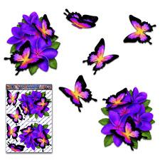 Purple Frangipani Plumeria Flower Butterfly Car Sticker St047pl3 Australia Made