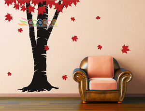 Image is loading Wall-Decor-Decal-Sticker-Removable-vinyl-large-Maple- & Wall Decor Decal Sticker Removable vinyl large Maple tree fallen ...