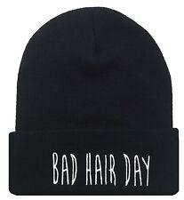 NEW BAD HAIR DAY CUFFED BEANIE SKULL CAP HAT HIP HOP CAP BLACK