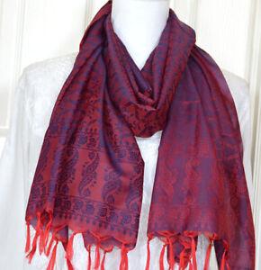 Banaras-Silk-Burgundy-Color-Woven-Paisley-Floral-Design-Stole-Wrap-Shawl