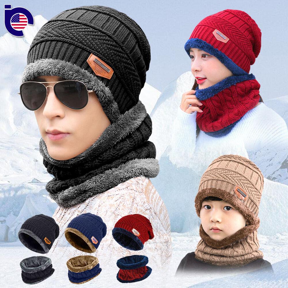 Thick Fleece Lined Winter Knit Hat Z-Dear Winter Beanie Hat Scarf Set Unisex Warm Hat