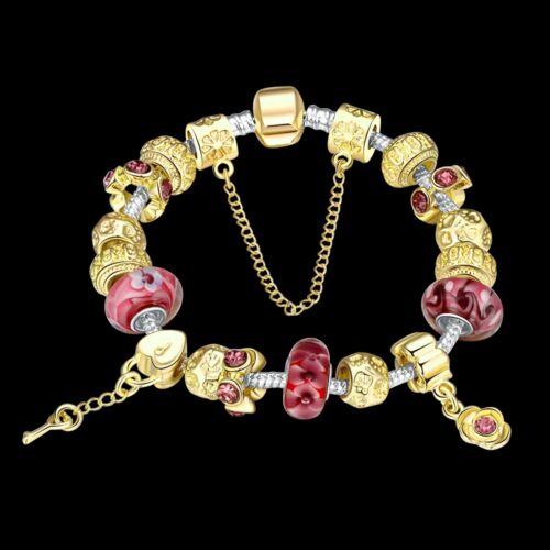Damen Armband Bettelarmband Beads golden//rot 20cm pl mit Sterlingsilber//Gold