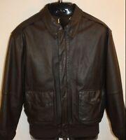 Mens Airborne Dark Brown Leather Bomber Flight Lined Jacket Coat Size Medium