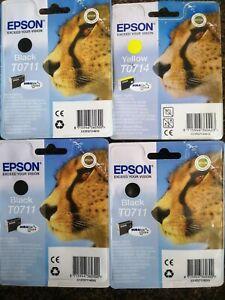 Brand New Epson T0711 black x 3 cartridges & 1 x T0714 yellow x 1 ink cartridge