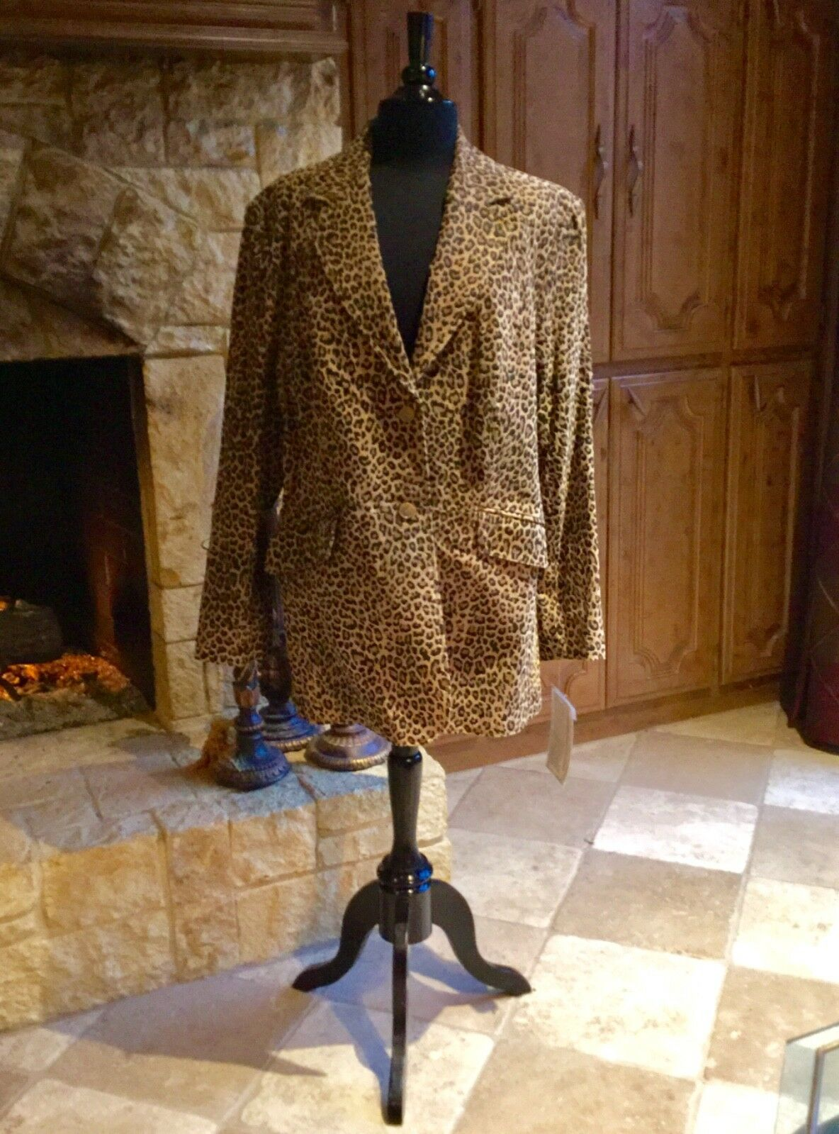 """PAMELA MCCOY"" ANIMAL PRINT FULLY LINED SUEDE LEATHER BLAZER SZ L FABULOUS"