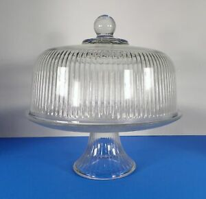 "12/""H Footed Cake Plate with Dome 11/""D Barski European Glass 2 pc Set"