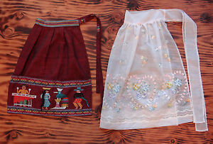Vintage-Apron-2-Pc-50s-Pink-with-Hearts-and-Souvenir-Embroidered-Guatemalan