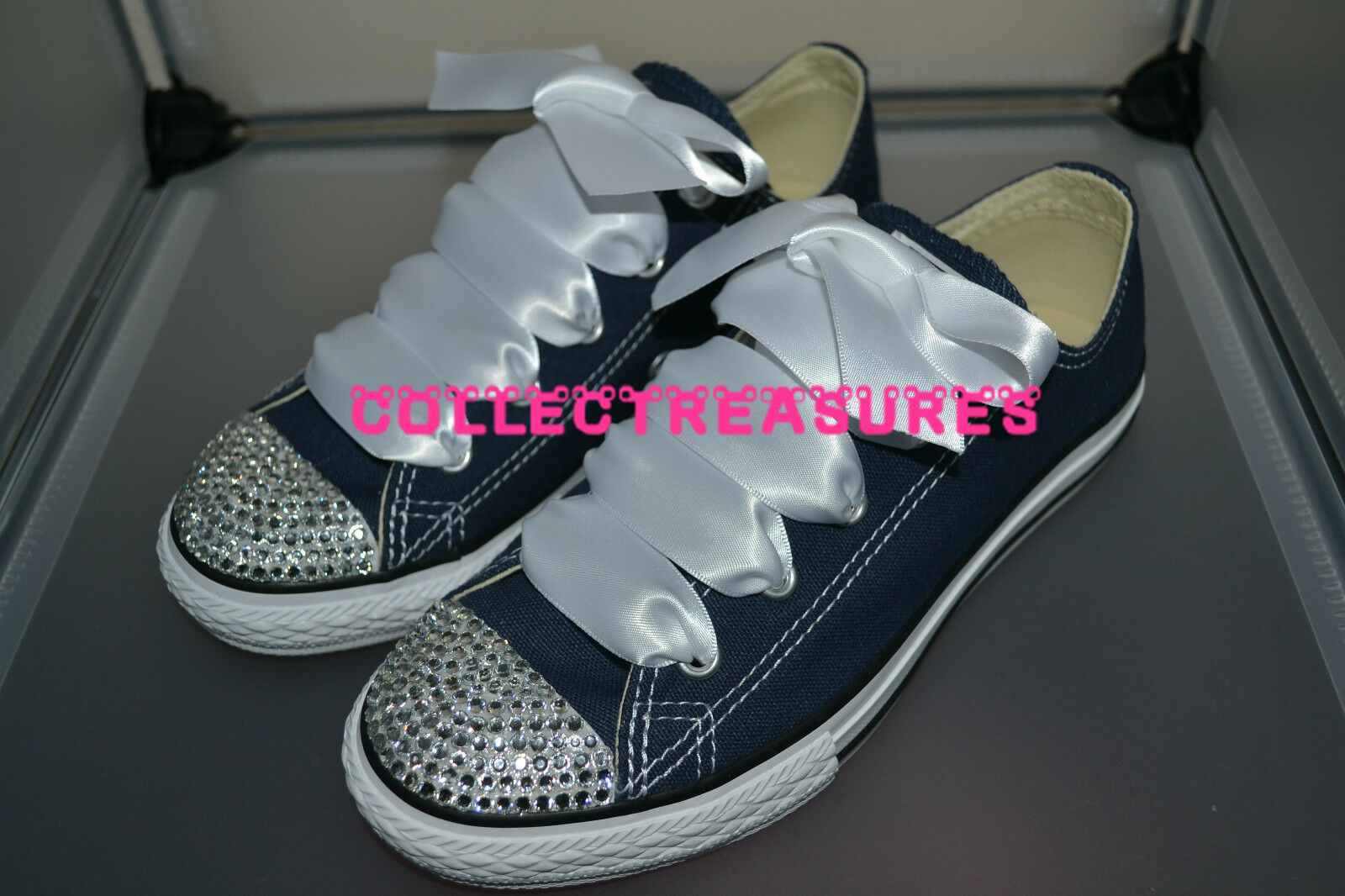 Custom Crystal Diamante Converse Bling NAVY N Top Converse Diamante Trainer Taglia 3f10f2