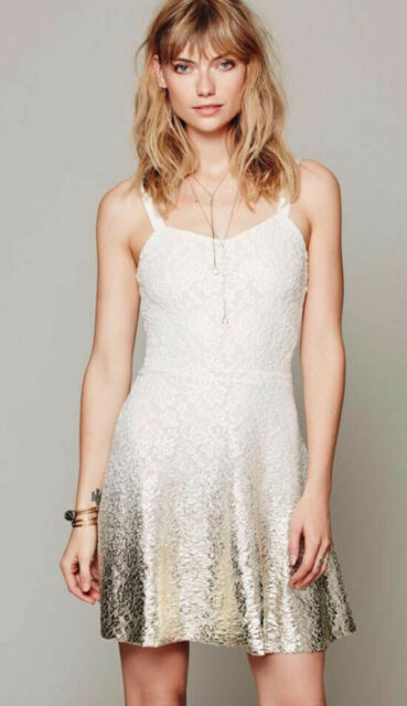 FREE PEOPLE IVORY GOLD FOIL OMBRE FIT N FLARE DRESS MEDIUM