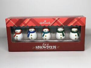 HALLMARK-Keepsake-2013-LET-IT-SNOWMEN-5-Snowman-CHRISTMAS-ORNAMENTS-SET-Snowman