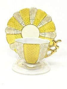Antique-Fine-Bone-China-Demitasse-Cup-And-Saucer-Yellow-Gold-Gilt-Ornate-Handle