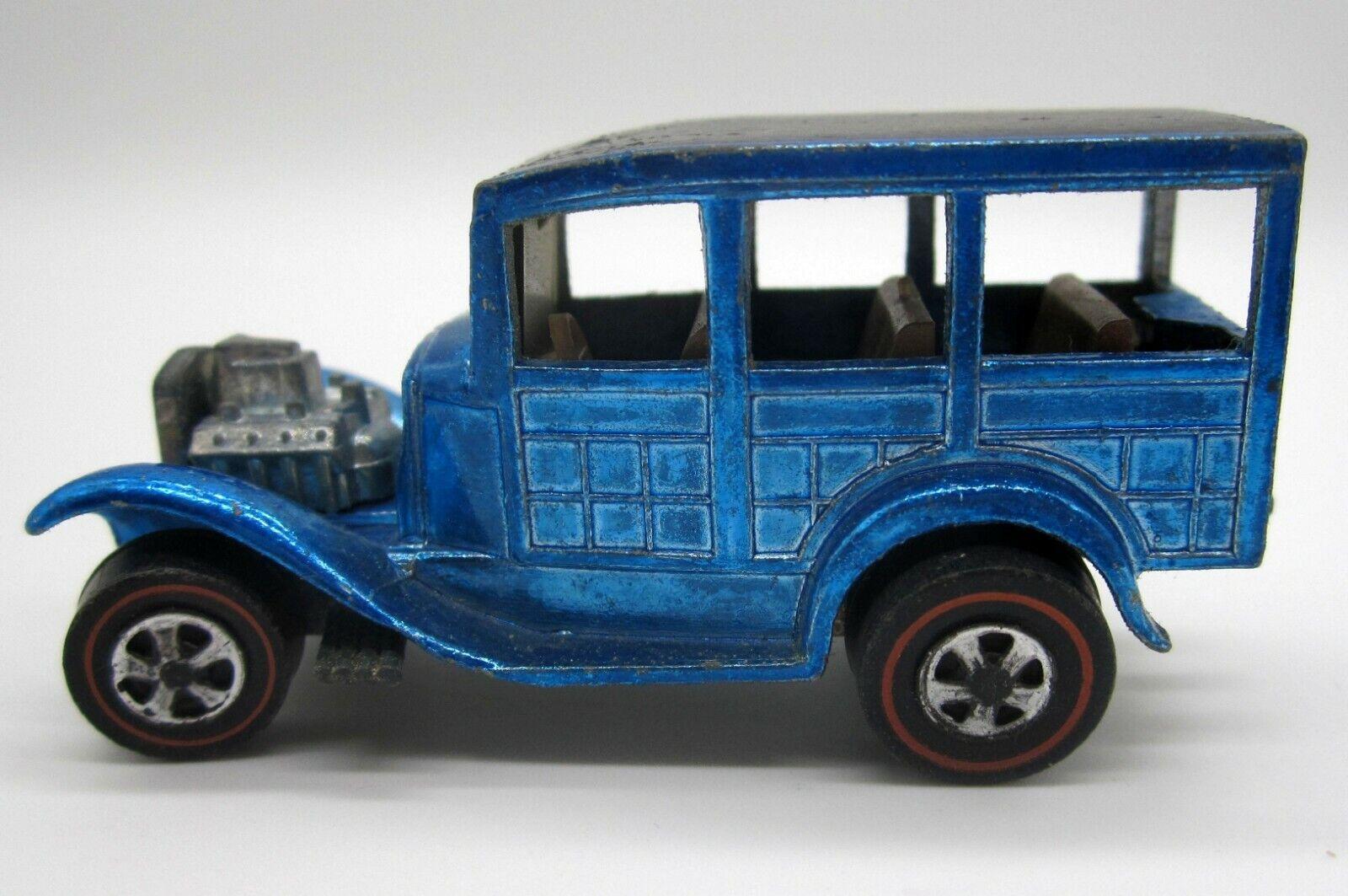 Vintage Hot Wheels 1968 Light bluee Classic 31 Ford Woody Redline Redlines - USA