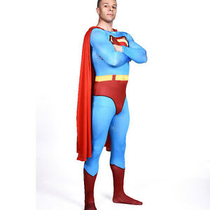 Image is loading Adult-Classic-Superman-Costume-Halloween-Costumes-Men- Superhero-  sc 1 st  eBay & Adult Classic Superman Costume Halloween Costumes Men Superhero ...