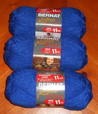 Bernat Softee Chunky Yarn Lot Of 3 Skeins (Royal Blue #28134)