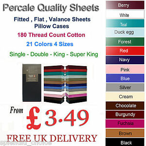 FITTED-FLAT-amp-FITTED-VALANCE-SHEETS-PERCALE-SINGLE-DOUBLE-KING