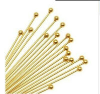 Free Ship 100Pcs Gold Plated Ball Head Pins 50mm Jewellery Findings