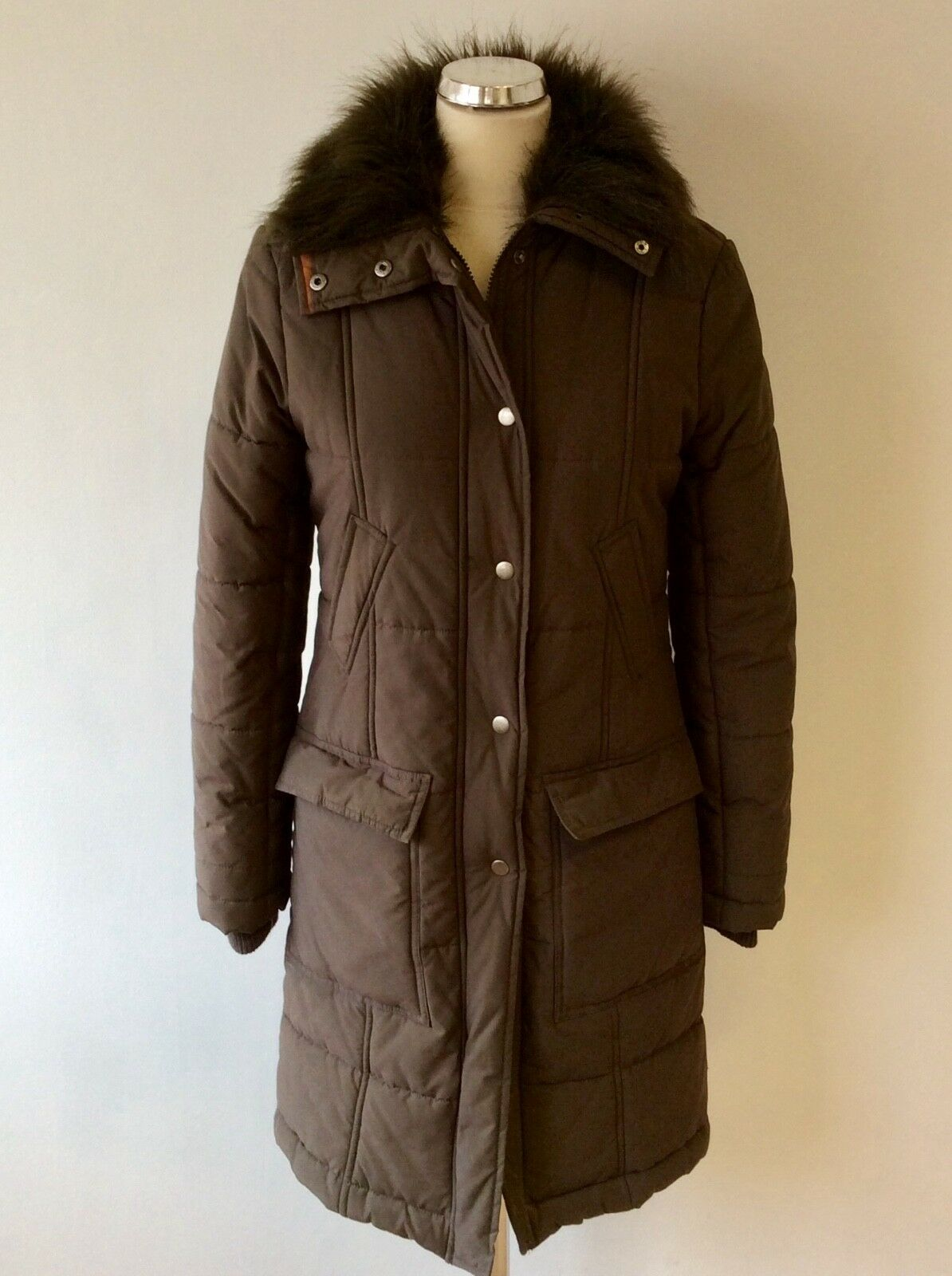 GREAT PLAINS DARK BROWN FAUX FUR TRIM COLLAR PADDED COAT SIZE S