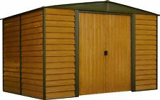 "Arrow Woodridge Galvanized Steel Shed  10' x 12' with 71"" Wall Height With doors"