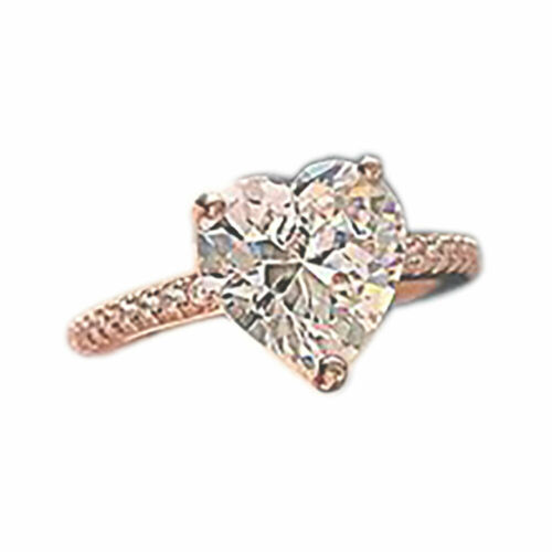 Women Silver Plated Crystal Love Heart Shaped Ring for Wedding Jewelry Gift UK