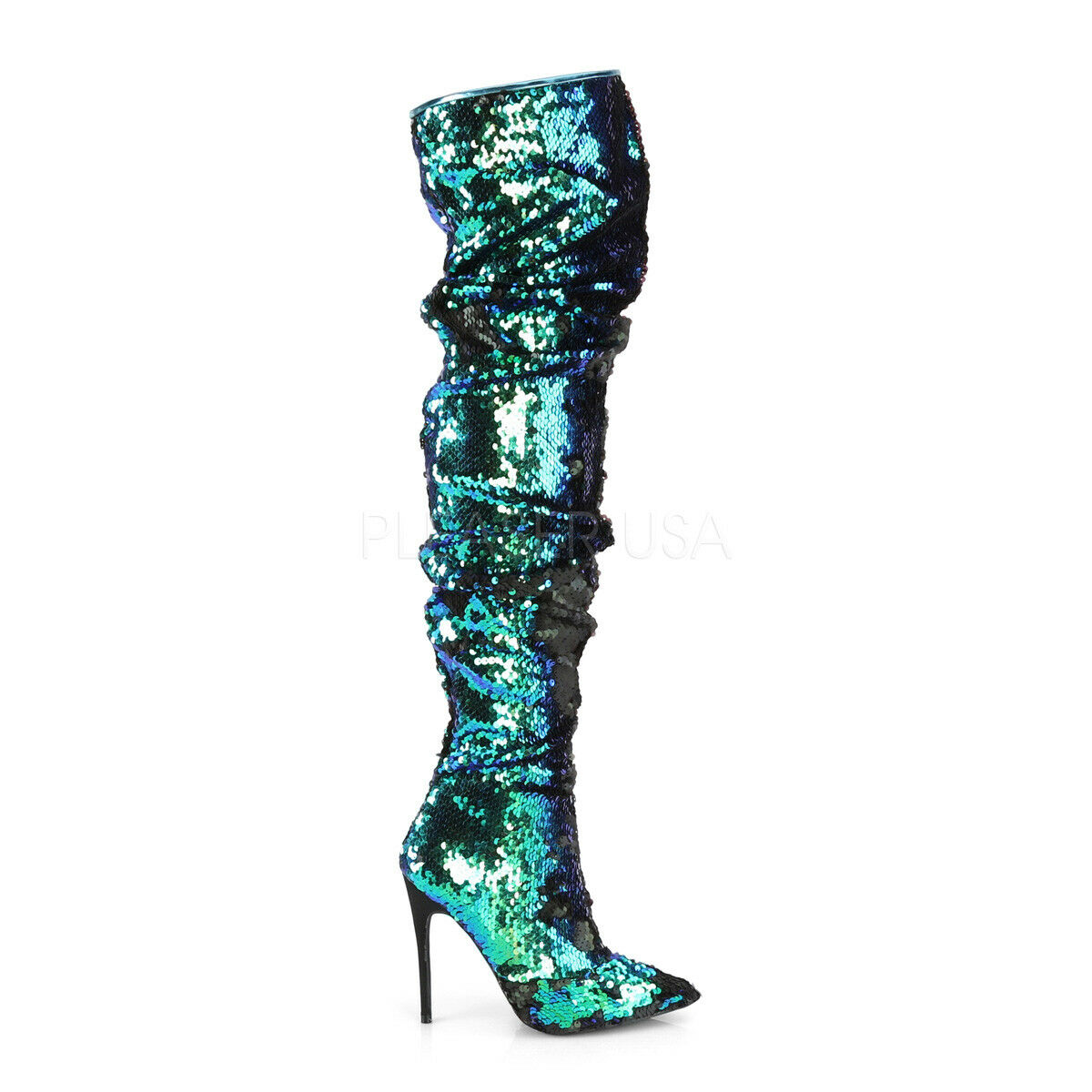 PLEASER Courtly-3011 Green iridescent Sequin Thigh Boots UK 4    EU 37 IN STOCK b86f90