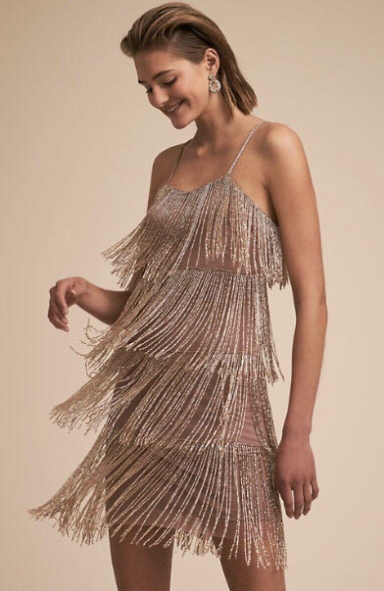 NWT Anthropologie BHLDN Platinum gold Beaded Fringe Over pink Nude Dress 0