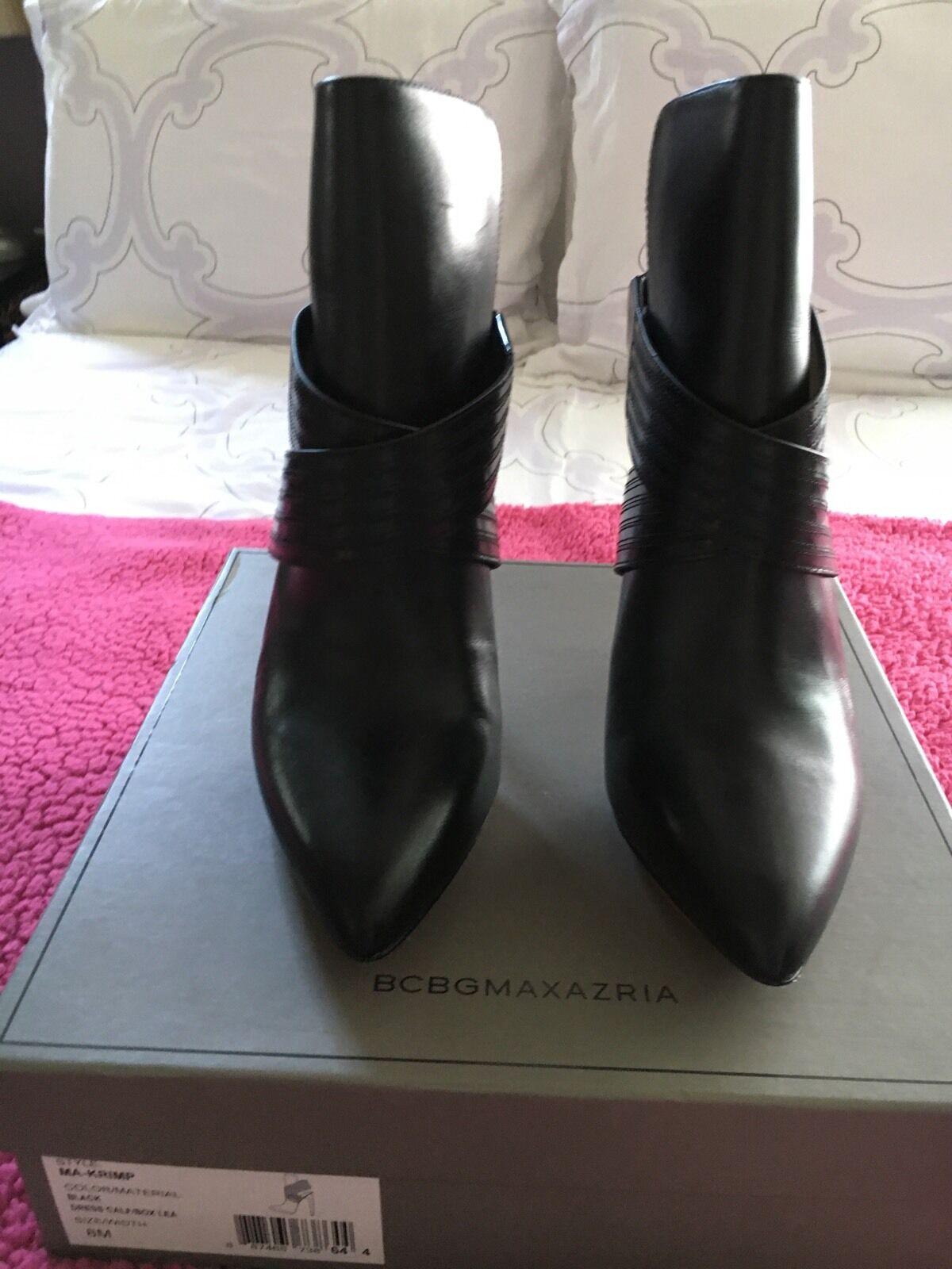 BCBG MAX AZRIA - NWB NWB NWB - Krimp Black Leather Booties - Size 8 a7c203