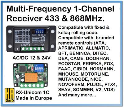 Hr Matic Rx Unicom 1c Universal 1 Channel Multi Frequency