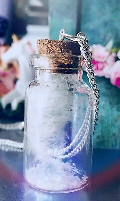 Angel Feather Bottle Necklace White Feather Feathers Appear When