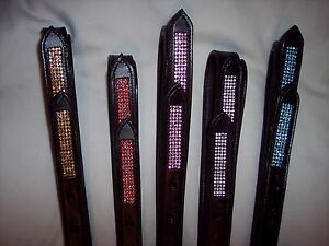 SALE-BLING-Saddle-Stirrup-Leathers-SPARKLY-Crystals-Tips-Dressage-Sizes-Colors