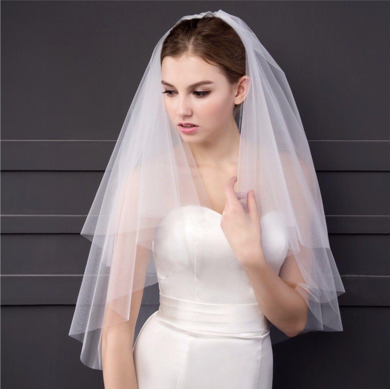 Bridal Wedding White Veil 2T With Metal Comb Plain Cut Edge Gorgeous Soft Tulle