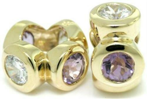 Whiz Real Amethyst 9K 9ct 375 Solid Gold Bead Charm FITS EURO BRACELETS