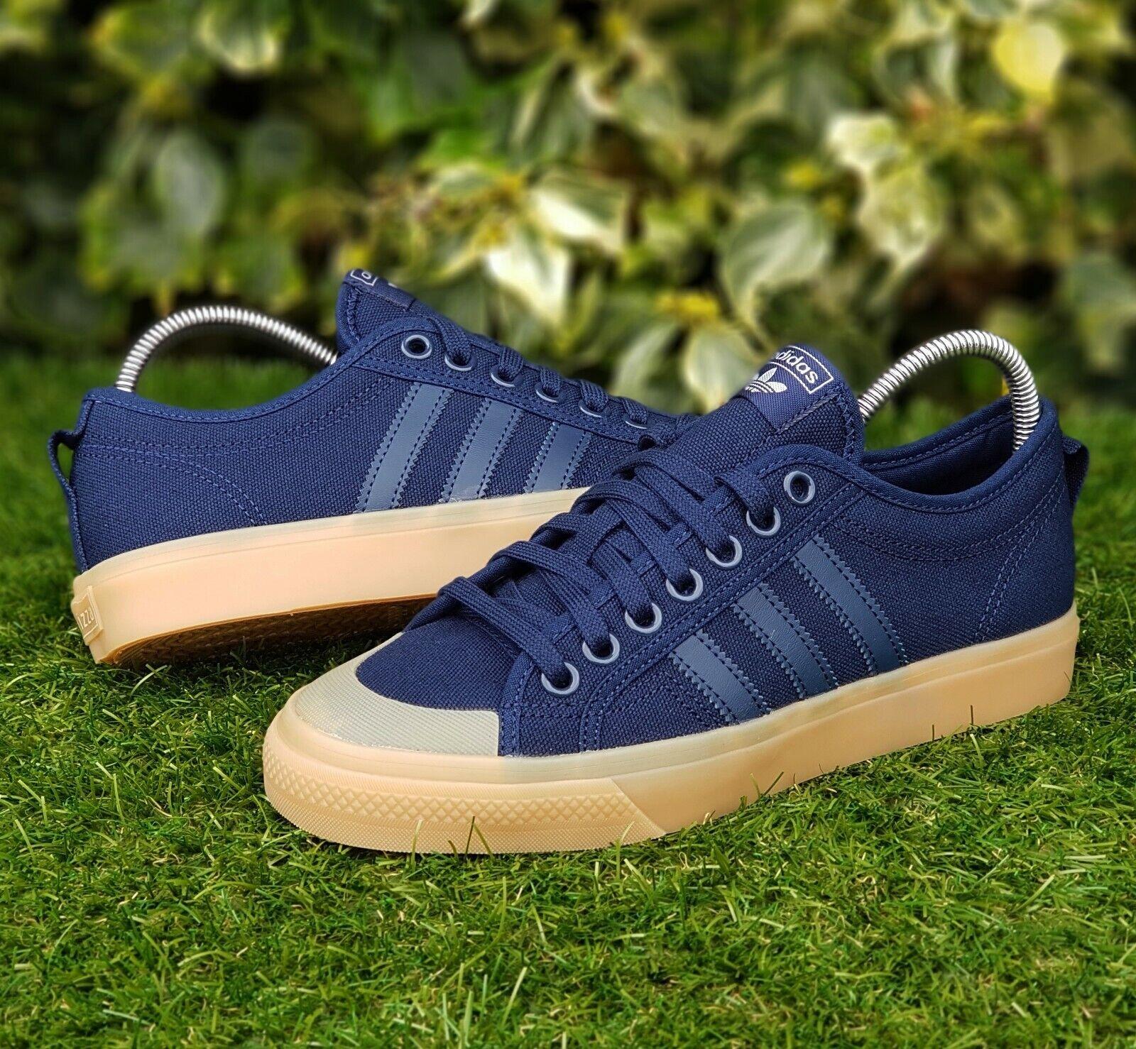 BNWB & Authentc adidas originals ® Nizza Lo Navy bluee & Gum Trainers UK Size 9.5