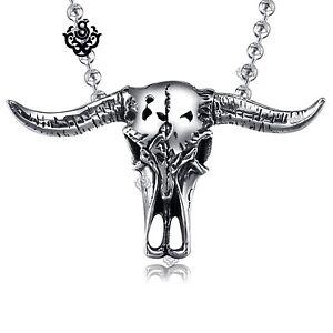 Silver-bull-pendant-buffalo-horn-skeleton-stainless-steel-ball-chain-necklace
