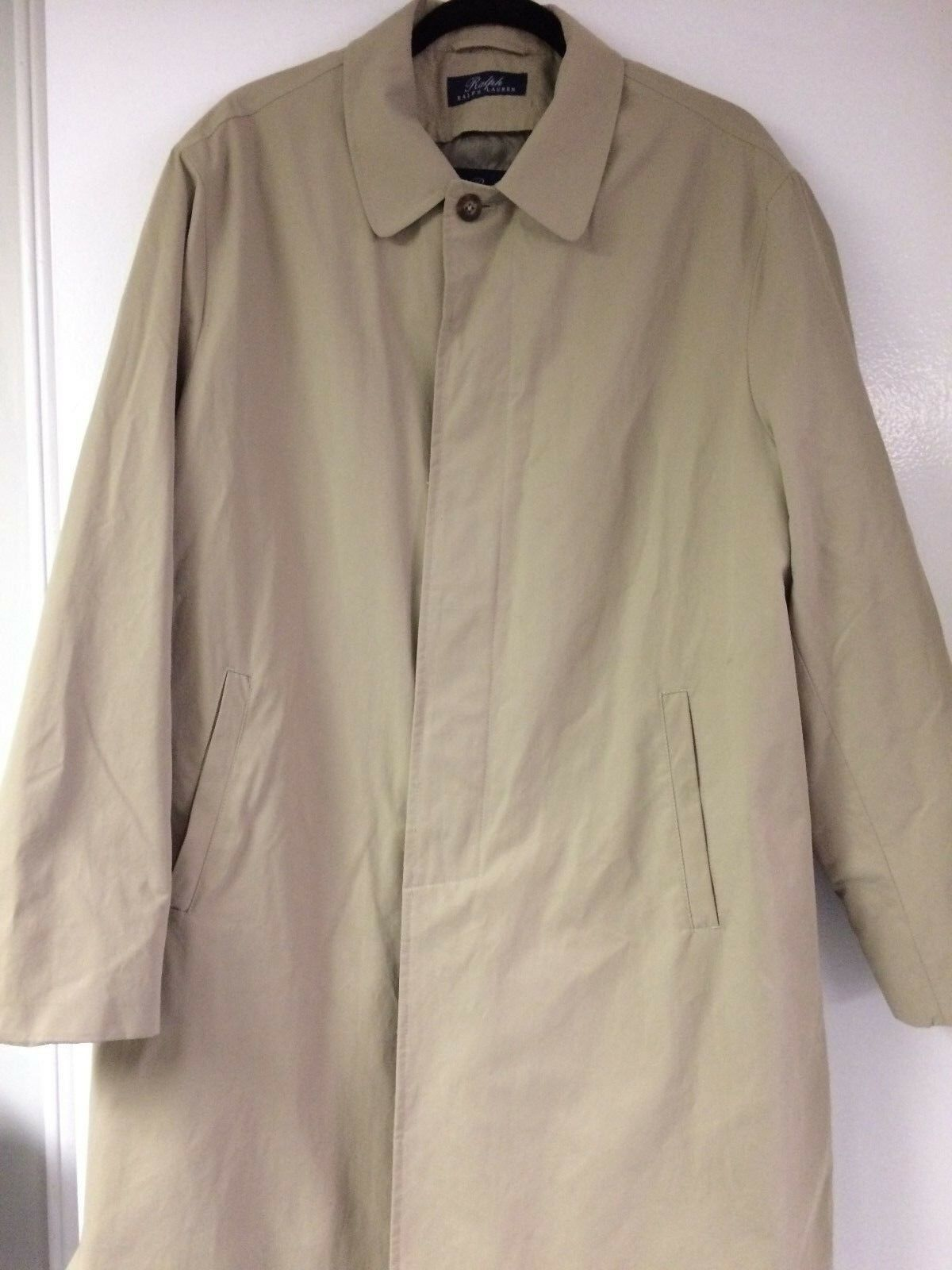 Ralph Lauren Trench Beltless Uomo Trench Lauren Cappotto Lana Blend Removable Liner Tan 44R NICE! 7025af