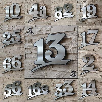 Edelstahl Hausnummer 13,17cm 21cm 31cm,123456789,a,b,c,d Acrylglas Anthrazitgrau