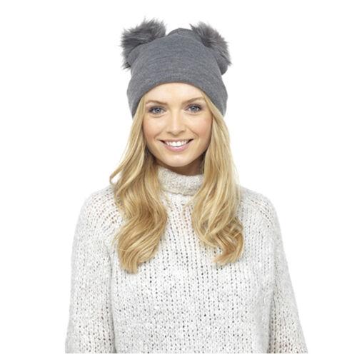 Women Ladies Winter Double Faux Fur Pom Pom Chunky Knit Beanie Ski Hat Cap UK